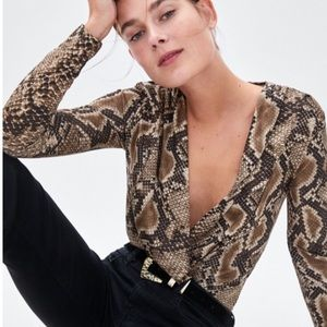 Zara Alligator Print Crossover Front Bodysuit